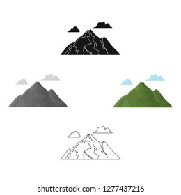 Mountain vector icon in cartoon style for web