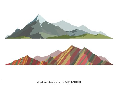 Mountain vector illustration isolated on white background. Mountainous landscape travel outdoor location design elements. Camping landscape travel climbing or hiking geology illustration.