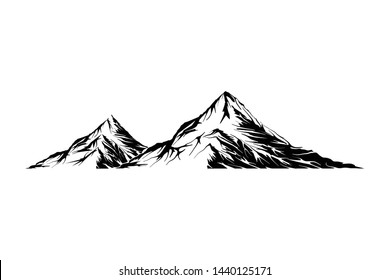 Mountain vector illustration, landscape mature silhouette element outdoor icon snow ice tops and decorative isolated camping travel climbing or hiking.