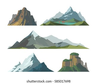 Mountain vector illustration landscape mature silhouette element outdoor icon snow ice tops and decorative isolated camping travel climbing or hiking mountainous geology