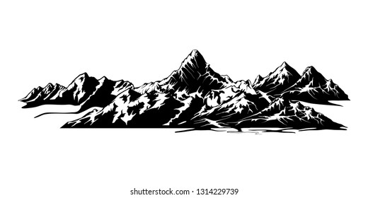 mountain vector. Rocky mountain illustration with black and white color