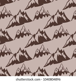 Mountain vector silhouette nature seamless pattern background outdoor rocky snow ice top decorative landscape travel climbing hill peak hiking illustration