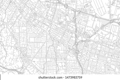 Mountain View, California, USA, bright outlined vector map with bigger and minor roads and steets created for infographic backgrounds.