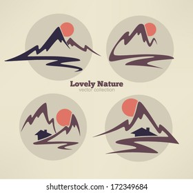 mountain view, high peaks and small houses