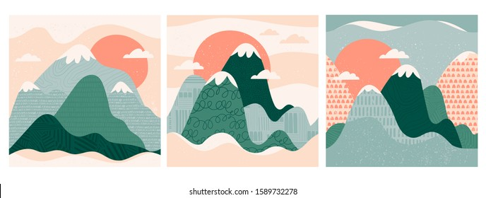 Mountain view. Mountains, hills, clouds, sun. Paper cut style. Flat abstract design. Scandinavian style illustration. Stamp texture. Set of three hand drawn trendy vector seamless patterns