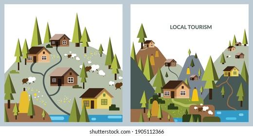 Mountain village. Flat vector illustration of houses in the mountains. Ukraine, Austria, Romania, Italy, Switzerland. The Alps. The Carpathians. Design template, banner, postcard.