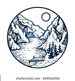 Mountain vintage emblem. Sun, fir forest, trees, berth, moorage, snake river or lake. Outdoor activity travel, tourism. Hand drawn engraved illustration. Vector circle isolated on white background.