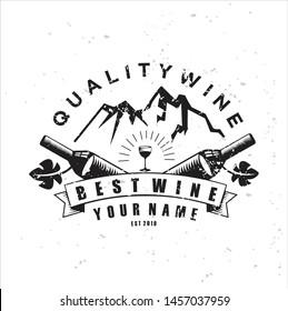 Mountain vintage style wine theme logo. Elegant logotype template Emblem for wine, restaurant menu, winery branding. Wine logo with a vintage mountain theme using grunge effects.