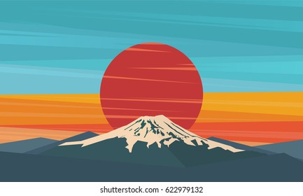 Mountain, volcano on the sun. Fuji against red sunset. Symbol of Japan. Vector illustration.