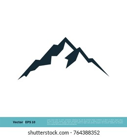 Mountain, Volcano, Summit, Peak Icon Vector Logo Template