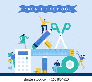 The mountain, which has built a huge school supplies, is a small character. flat design style vector graphic illustration