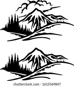 Mountain wilderness icon black and white