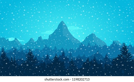 Mountain in winter. Winter landscape. Holidays and travel concept. New year and Christmas. Flat vector illustration