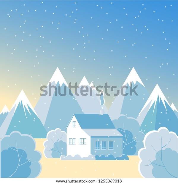 Mountain Winter Landscape House Snow Valley Stock Vector