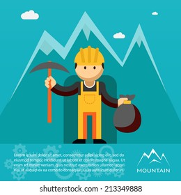 Mountain worker  miner or prospector emerging from a mine shaft or tunnel with a pick and sack of gold wearing a hardhat and overalls  vector illustration