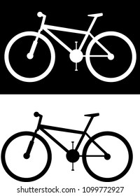 Mountainbike logo, white in black canvas and black on white canvas. A vector illustration, giant, specialized