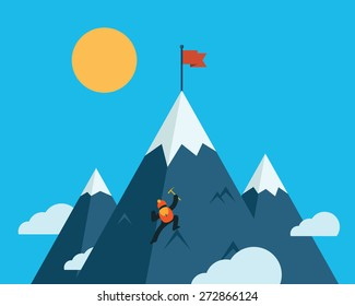 Mountaineer climb a snow mountain. Vector icon.