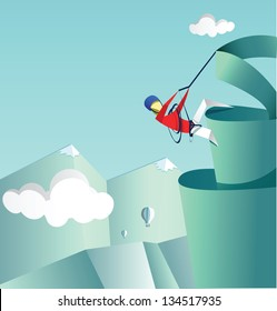 Mountaineer climbs on a pike. Folded paper style illustration. Flying hot air balloons and clouds are on the back.