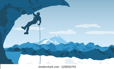 Mountaineer  hangs on a rope from the ice block with a special tourist equipment. Mountaineering winter background. Extreme sport concept. Vector illustration