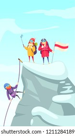 Mountaineering cartoon picture with mountain climbers ascending rock peak and making selfie on the top vector illustration