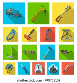Mountaineering and climbing flat icons in set collection for design. Equipment and accessories vector symbol stock web illustration.