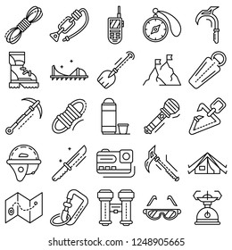 Mountaineering equipment icon set. Outline set of mountaineering equipment vector icons for web design isolated on white background