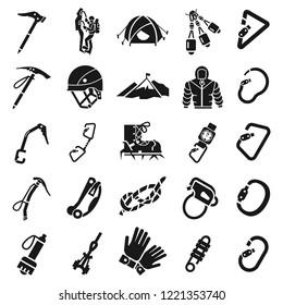 Mountaineering equipment icon set. Simple set of mountaineering equipment vector icons for web design on white background