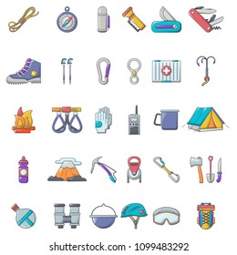 Mountaineering equipment icons set. Cartoon illustration of 36 mountaineering equipment vector icons for web