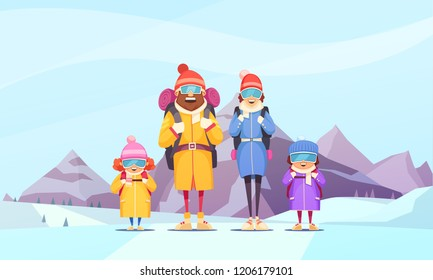 Mountaineering family winter vacation cartoon poster with father mother 2 kids against alpine mountains background vector illustration
