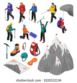 Mountaineering isometric set of touristic equipment and climbers characters in helmets and winter sport suits isolated vector illustration