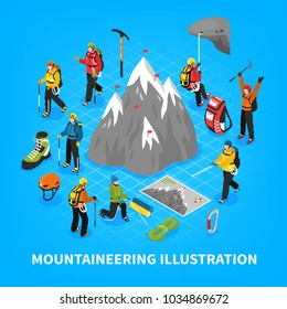 Mountaineering isometric vector illustration with snow mountain touristic equipment and tools for climbers rising