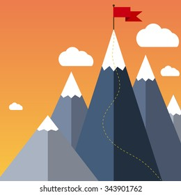 Mountaineering Route. Goal Achievement or Success Concept. Mountains with snow and red flag on the top, sky and clouds on background. Vector illustration in flat style