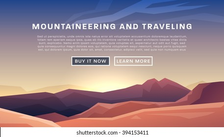 Mountaineering and Traveling Vector Illustration. Landscape with Mountain Peaks. Extreme Sports, Vacation and Outdoor Recreation Concept.