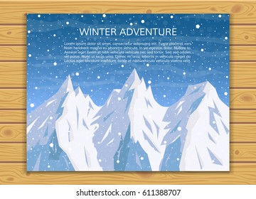 Mountaineering or travelling concept. Climbing, hiking, trekking, outdoor vacation or extreme sports background. Winter mountain landscape with falling snow for card design. EPS10 vector illustration.