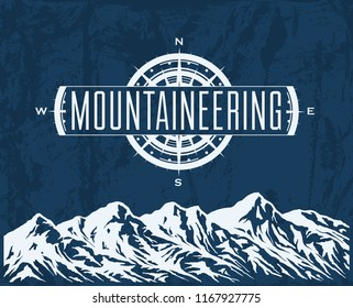 Mountaineering and travelling grunge background with huge mountain range silhouette and windrose. Vector illustration.