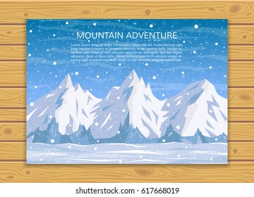 Mountaineering, trekking, climbing - winter adventure card. Travelling, hiking, outdoor vacation or extreme winter sports banner. Mountains and falling snow landscape. EPS10 vector illustration.