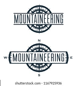 Mountaineering vector logo and labels set. Sport climbing, emblem hiking, hobby travelling illustration isolated on white.