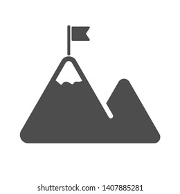 mountaines with flag on a peak vector icon isolated on white background. mountaineering, climbing, success, victory, alpinism web icon for mobile and ui design