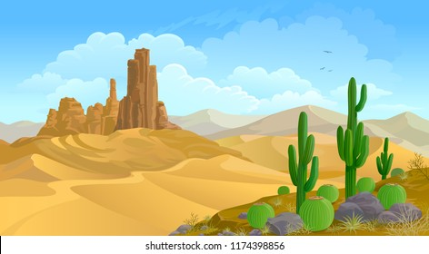 Mountainous background and a desert landscape. Cactus plants and rocks on the sands. A calm desert