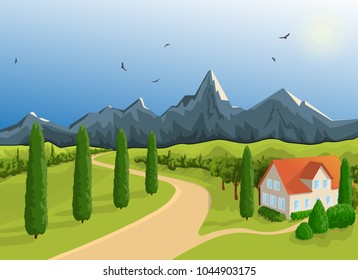 Mountainous terrain. A house against the backdrop of the mountains. A bright sunny day. A blue sky, flying eagles. Southern vegetation-cypresses Road to the field. A rural summer landscape. Vector