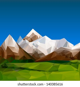 Mountainous terrain, polygonal background, vector illustration.