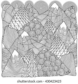 The mountains. Adult coloring book page. Black and white fantasy picture. Fir trees and mountain views. Eco theme. Pattern for coloring book. Hand-drawn, ethnic, retro, doodle, vector elements.