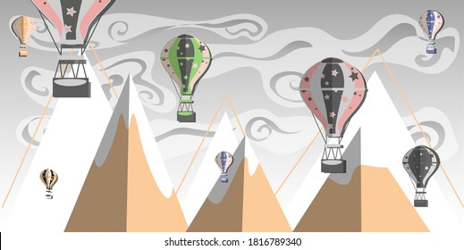 Mountains and air balloons in sky. Wallpaper for kids room. Vector illustration.