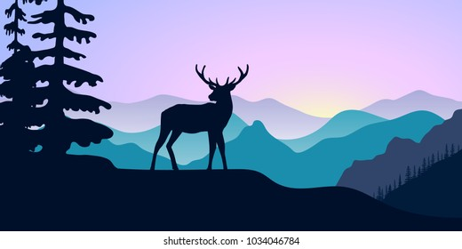 Mountains, alpine wild fallow deer and forest at sunrise. landscape with silhouettes. Vector illustration. hills, trees, mist, sun ray, elk with sunrise sky. For prints, posters, wallpapers background