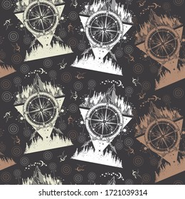 Mountains and antique compass. Seamless pattern. Packing old paper, scrapbooking style. Vintage background. Medieval manuscript, engraving art. Adventure, travel, outdoors, symbol