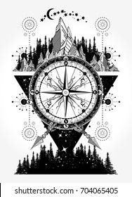 Mountains and antique compass tattoo art. Adventure, travel, outdoors symbol