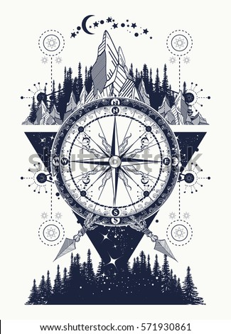 Mountains Antique Compass Tattoo Art Adventure Vector de stock ...