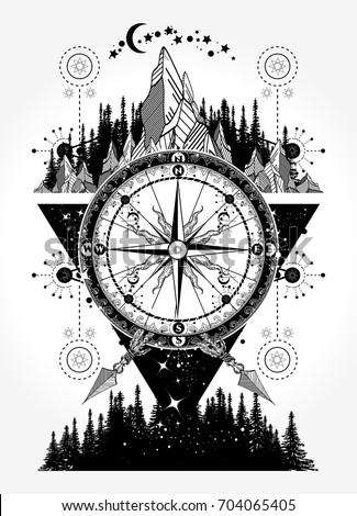Mountains Antique Compass Tattoo Art Adventure Stock Vector Royalty