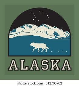 Mountains badge or emblem. Adventure outdoor, expedition mountain, badge climbing mountain snowy, peak mountain label with text Alaska, vector illustration