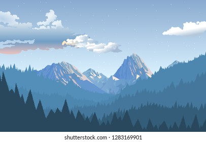 mountains with beautiful natural trees and beautiful sky with clouds